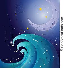 大きい, イメージ, 月, 波