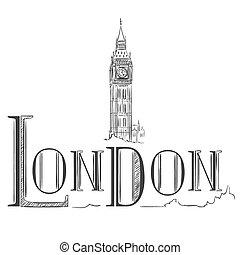 大きい, イラスト, 手, ロンドン, 引かれる, ben.