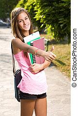 大きい, 「オーケー」, によって, 美しい, 十代, student.