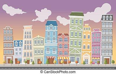 大きい, カラフルである, 風景, 都市