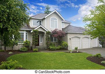 大きい, クラシック, アメリカ人, 家, ∥で∥, 3, 自動車, garage.