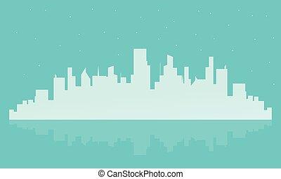 大きい, シルエット, 風景, イラスト, 都市