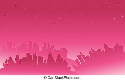 大きい, シルエット, 風景, 都市