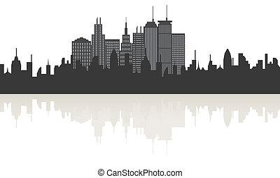 大きい, スカイライン, 反射, 都市