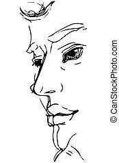 大きい, スケッチ, 人, 唇, 肖像画