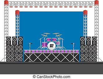 大きい, スピーカー, コンサート, ドラム, ステージ