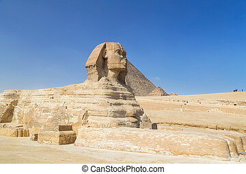 大きい スフィンクス, のまわり, ギザ, egypt., 観光客