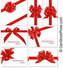 大きい, セット, お辞儀をする, 贈り物, ribbons.