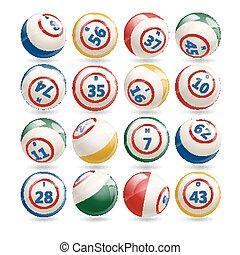 大きい, セット, の, 宝くじ, ビンゴ, ボール
