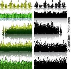 大きい, セット, の, 緑, そして, 黒, 草, 隔離された, 白, バックグラウンド。, ベクトル, illustration.