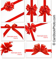 大きい, セット, の, 贈り物, お辞儀をする, ∥で∥, ribbons.