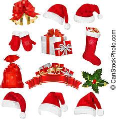 大きい, セット, の, 赤, santa, 帽子, そして, clothing., ベクトル,...