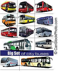 大きい, セット, の, 都市, buses., coach., vect
