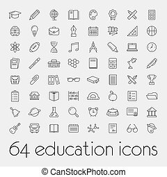 大きい, セット, 教育, アイコン