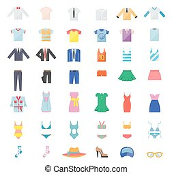 大きい, セット, 衣類, アイコン