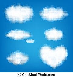 大きい, セット, 雲