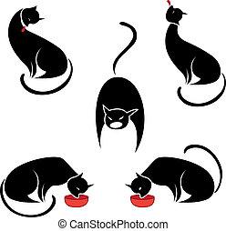 大きい, セット, 黒, cats.