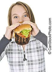 大きい, ティーンエージャーの, 食べること, 女の子, ハンバーガー