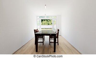 大きい, テーブル, 現代, 食事をする, アパート