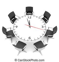 大きい, テーブル, 顔, ラウンド, 時計