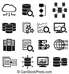 大きい, データ, そして, 技術アイコン