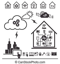 大きい, データ, アイコン, セット, 雲, 計算