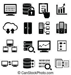 大きい, データ, アイコン, セット