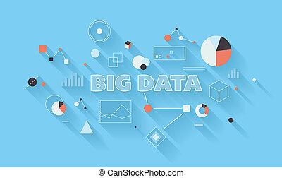 大きい, データ, 分析, イラスト