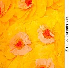 大きい, ハンドメイド, 黄色, ペーパー, 背景, 花
