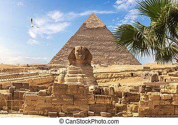 大きい ピラミッド, スフィンクス, エジプト人, pyramids:, khafre
