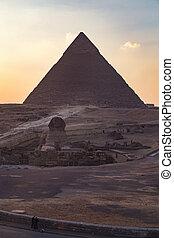 大きい ピラミッド, スフィンクス, ギザ, バックグラウンド。, 日没