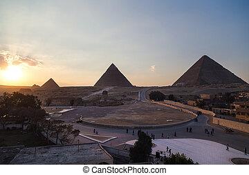 大きい ピラミッド, スフィンクス, 観光客, ギザ, egypt., グループ, ヘッディング