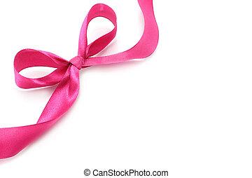 大きい, ピンク, 休日, 弓, 白, 背景