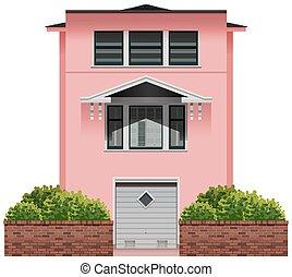 大きい, ピンク, 建物