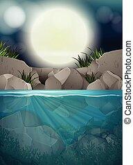 大きい, フルである, 川, 夜, 月