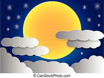 大きい, フルである, 雲, 背景, 月