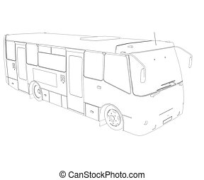 大きい, フレーム, ワイヤー, bus.