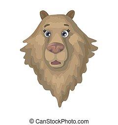 大きい, ブラウン, ベクトル, 熊, head., 野生, イラスト