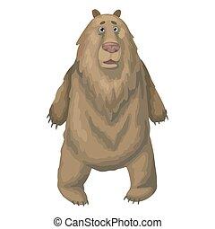 大きい, ブラウン, ベクトル, 驚かされる, 熊, 野生, shocked., イラスト, ∥あるいは∥