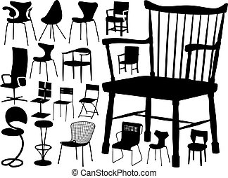 大きい, ベクトル, コレクション, の, 椅子