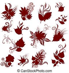 大きい, ベクトル, セット, の, 秋, leafs.