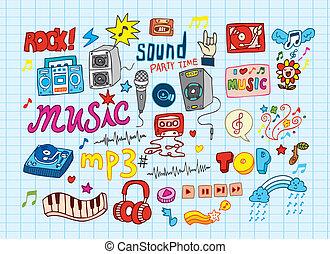 大きい, ベクトル, セット, :, sketchy, 音楽, illu