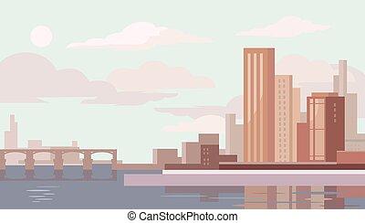 大きい, ベクトル, city., イラスト, 平ら