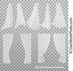 大きい, ベクトル, curtains., 透明, コレクション