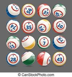大きい, ボール, セット, ビンゴ, 宝くじ