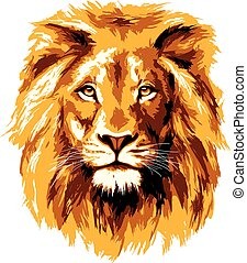 大きい, ライオン, fiery