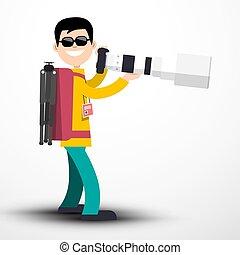 大きい, ライト, -, 背中, イラスト, 隔離された, レンズ, ベクトル, 望遠レンズ, 背景, カメラマン, カメラ, パック