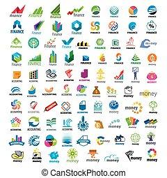 大きい, ロゴ, セット, 金融, ベクトル