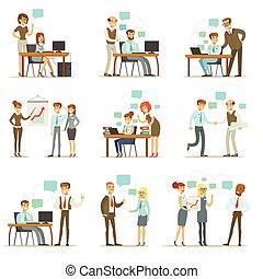 大きい 主任, 管理する, そして, 監督すること, ∥, 仕事, の, オフィス, 従業員, セット, の, 上, マネージャー, そして, 労働者, イラスト