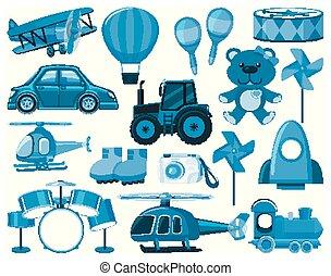 大きい, 他, オブジェクト, おもちゃ, 青, セット
